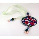 Beaded Bookmark - Round Red and Blue