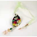 Beaded Bookmark - Oval Mixed Flower